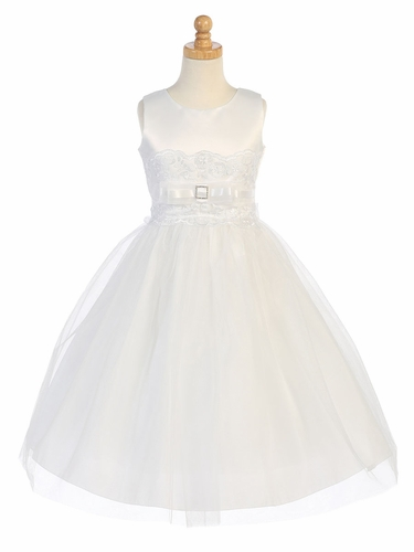 White Satin & Tulle Dress w/ Embroidered Tulle Waist Accent