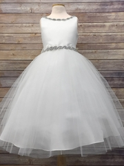 White Satin & Tulle Dress w/ Gem Neckline & Belt