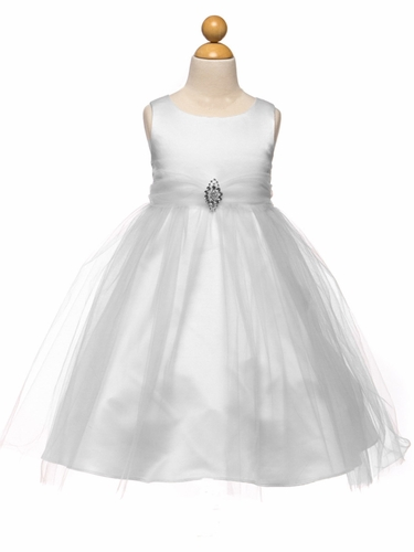 White Satin & Tulle Dress w/ Rhinestone Brooch