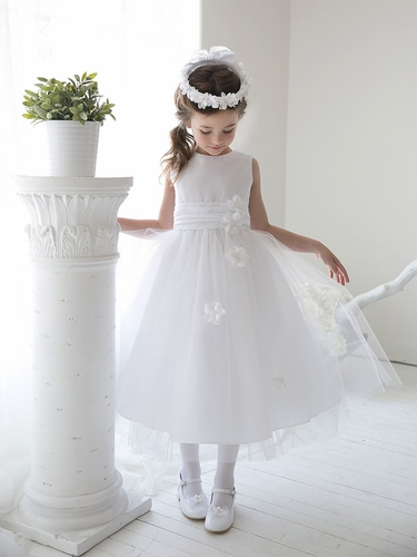 White Satin Tulle Dress w/ Sash & Floating Flowers