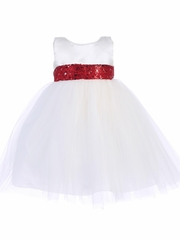 White Satin & Tulle Dress w/ Sequined Sash