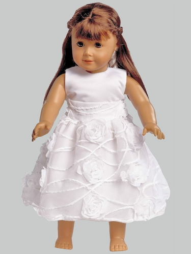 "White Satin & Tulle w/ Chiffon Dress for 18"" Doll"