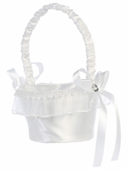 White Satin w/ Organza Trim Basket