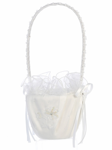 White Satin w/ Sequins on Embroidery Basket
