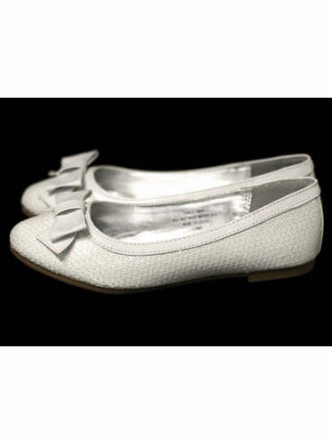 White Sequin Kids Flats w/ Bow