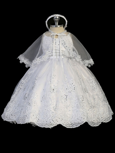 White Sequins Organza Gown w/ Tail