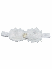 White Shabby Rose & Pearl Stone Headband