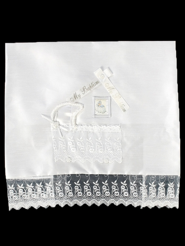 White Shantung Christening Blanket w/ Crib Design