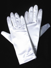White Short Satin Gloves