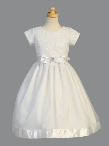 White Short Sleeve Embroidered Tulle w/ Sequins & Organza Skirt