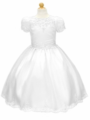 White Short Sleeve Satin Communion Dress w/ Beaded Embroidery