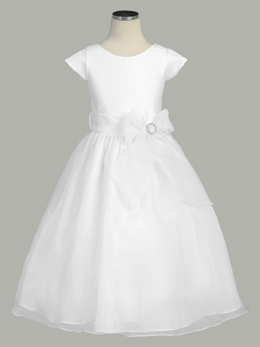 White Side Ribbon Organza Dress w/ Sleeves