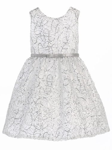 White & Silver Metallic Chord Embroidered Dress w/ Belt