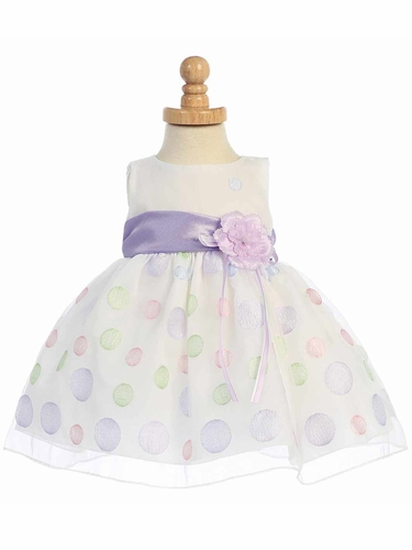 White Sleeveless Organza Dress w/ Polka Dot Embroidery & Lilac Sash