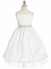 White Sleeveless Taffeta Dress with Adorned Waistline