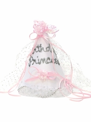 White Sparkle 'Birthday Princess' Party Hat w/ Ribbon & Glittered Veil