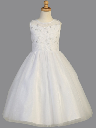 White Sparkled Embroidered Tulle Communion Dress w/ Sequins & Pearls