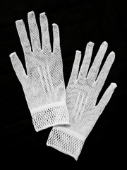 White Stretch Lace Gloves
