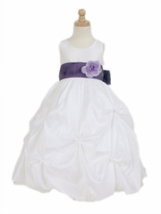 White Taffeta Bubble Pick-up Flower Girl Dress