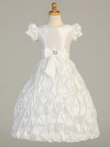 White Taffeta Communion Dress w/ Pinched Skirt & Short Sleeves