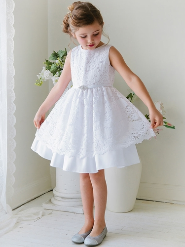 White Taffeta Dress w/ Flower Lace Overlay