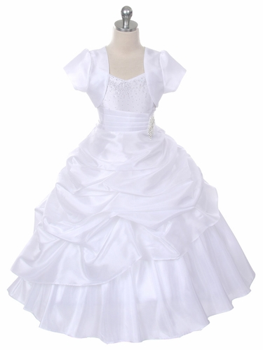 White Taffeta Pageant Dress w/ Brooch & Rhinestone