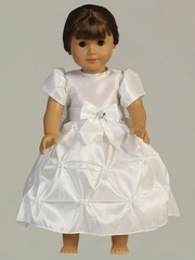 "White Taffeta Pinched Skirt w/ Short Sleeves Dress for 18"" Doll"