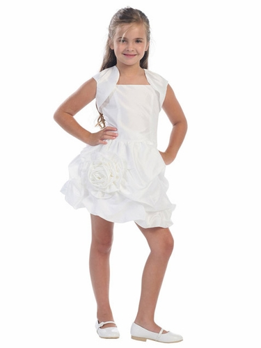 White Taffeta Short Dress with Pick-Ups & Matching Bolero