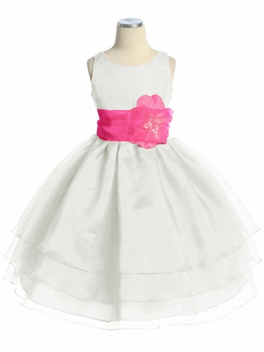 White Three Layer Organza Dress