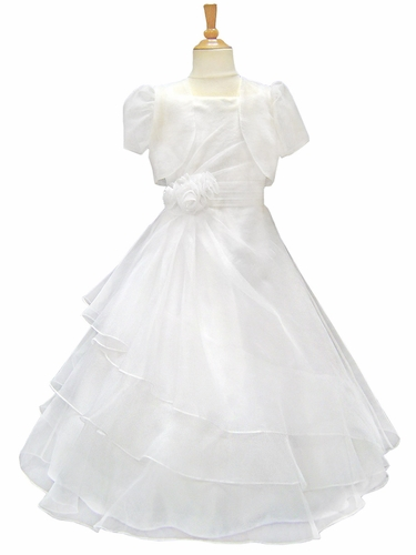 White Tiered Organza Communion Dress w/ Bolero