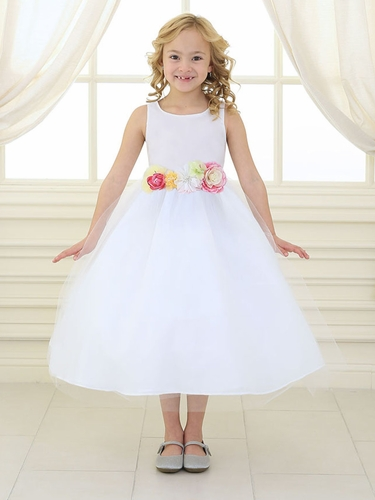 White Tulle Dress w/ Multi-Color Flower Waistband