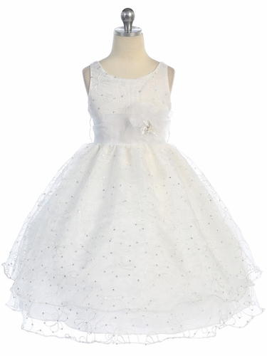 White Two Layer Embroidered Organza Dress