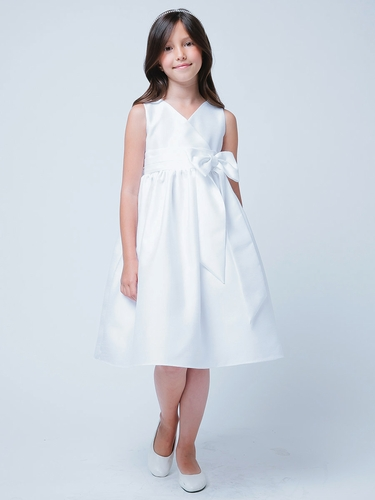 White V-Neck Poly Dupioni Dress w/ Bow