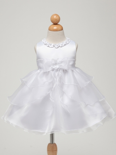 White/White Satin Bodice w/Layered Organza Bottom Baby Dress