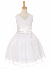 White Yoryu Chiffon Double V-Neck Dress