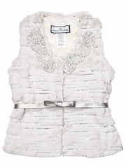 Widgeon Ivory Rosette w/ Silver Sequin Fur Vest