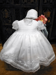 Will�beth Embroidered Flowers Christening Dress w/ Bonnet