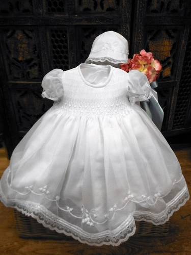 Will'beth Embroidered Flowers Christening Dress w/ Bonnet