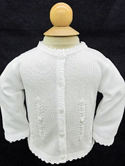 Will'beth Infant Girls White Cardigan Sweater