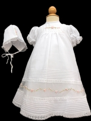 Will�beth White & Pink Embroidered Gown w/ Bonnet