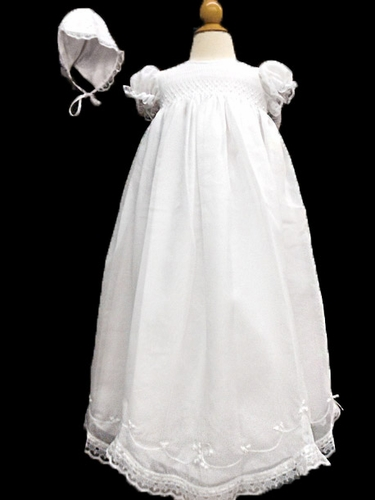 Will'beth White Smocked Christening Gown