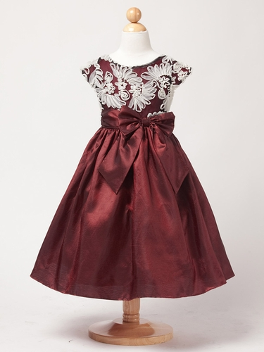 Dark Red Taffeta Dress w/ Fanned Embroidery