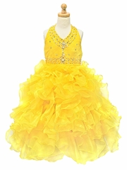 Yellow Beaded Halter w/ Ruffled Organza Dress