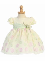 Yellow Cap Sleeved Organza Dress w/ Polka Dot Embroidery & Mint Sash
