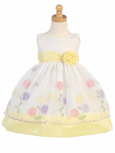 Yellow Floral Embroidered Organza w/ Poly Silk Trims