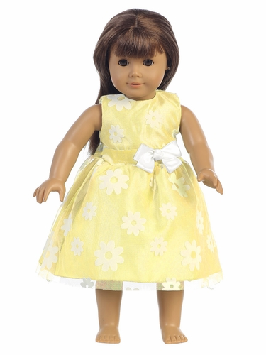 "Yellow Flower Flocked Tulle 18"" Doll Dress"