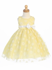Yellow Flower Flocked Tulle Dress