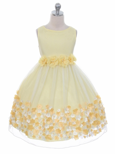 Yellow Flower Mesh Dress
