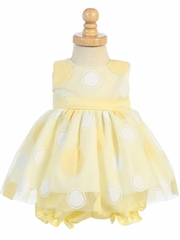 Yellow Glittered Polka Dot Baby Dress w/ Bloomers