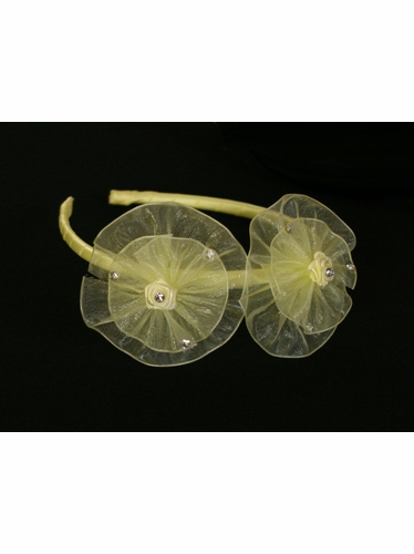 Yellow Organza Flower Bow & Rhinestone Headband